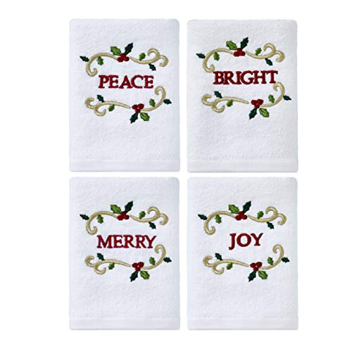 (Serafina Home Christmas Holiday White Hand Tip Towels: Decorative Embroidered Peace, Joy, Merry, Bright)