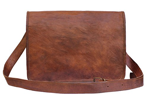 United Leather Bags 15'' Inches Classic Adult Unisex Cross Shoulder Genuine Leather Messenger Laptop Briefcase Bag Satchel Brown by United Leather Bags (Image #3)