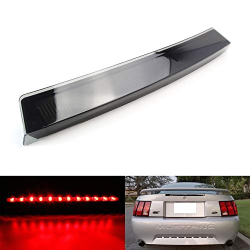 iJDMTOY Smoked Black Lens LED 3rd Brake Light For 1999-2004 Ford Mustang, Powered by 12 Super Bright Red LED Emitters