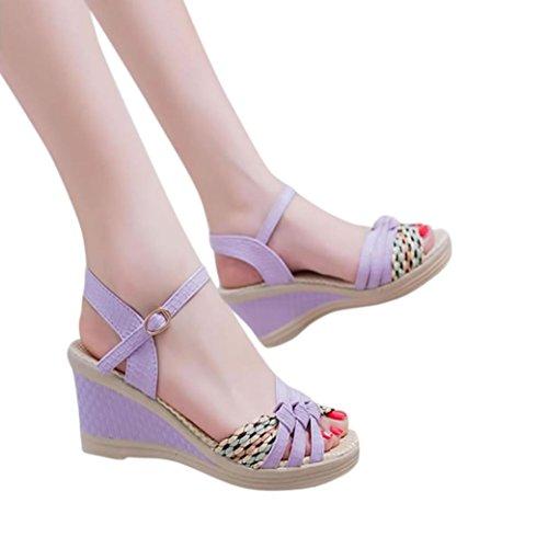 Inkach Femmes Wedges Sandales - Dames Bohème Été Plate-forme Orteils Sandales Chaussures À Talons Hauts Chaussures Violet