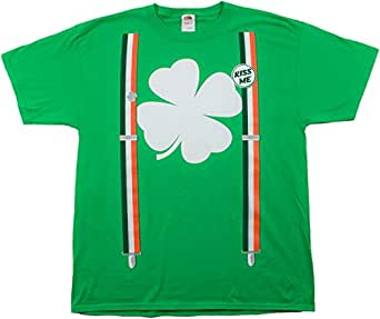 St. Patrick's Day Shamrock Suspenders | Funny St. Paddy Irish Unisex T-shirt-Adult,3XL
