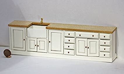 Amazon Com Dollhouse Miniature Kitchen Set In White W Granite Look