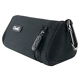 Cambridge SoundWorks Official OontZ Angle 3 Bluetooth Speaker Carry Case (Black with Black Stitching), Neoprene with Aluminum Carabiner, reinforced zipper [NOT FOR OontZ Angle 3 PLUS]