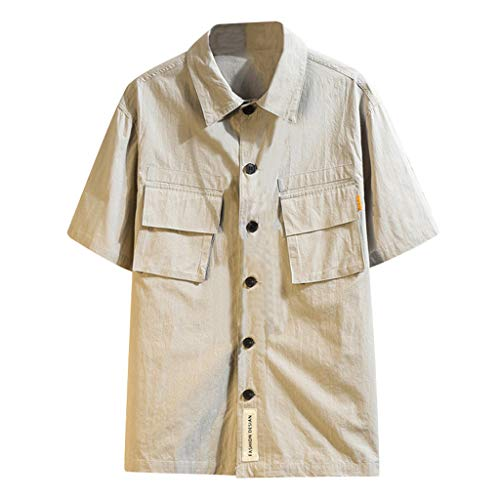 T-Shirt Top Blouse Big and Tall Short Sleeve Button Down Dress Shirts Business Casual Fashion Military Pure Color Pocket Men (5XL,Gray)]()