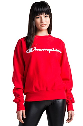 Scarlet Pullover Sweatshirt (Champion LIFE Men's Reverse Weave Sweatshirt,Team Red Scarlet/Champion Script,Small)