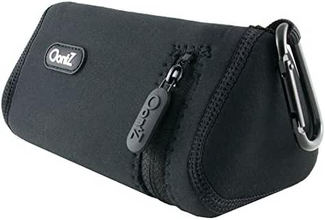 [Official] OontZ Angle 3 Bluetooth Portable Speaker Carry Case (Black with Black Stitching), Neoprene with Aluminum Carabiner, reinforced zipper, by Cambridge SoundWorks [NOT FOR OontZ Angle 3 PLUS]