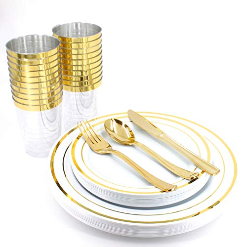 AiKOOL 150 Pieces Gold Plates and Gold Cups with Plastic Dinnerware, Top Disposable Dinnerware Set for 25 Guest Include:25 Dinner Plates, 25 Dessert Plates, 25 Tumblers, 25 Forks, 25 Knives, - Cup Set Dessert