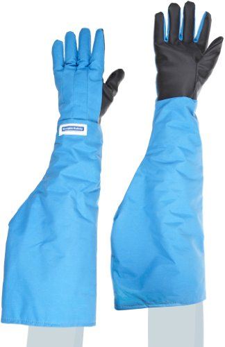 National Safety Apparel G99CRSGPLGSH Nylon Taslan and PTFE Shoulder Waterproof Safety Glove with SaferGrip Palm, Cryogenic, 26'' - 27'' Length, Large, Blue by National Safety Apparel Inc