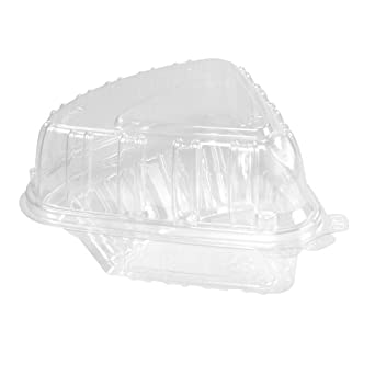 Dart C54HT1 Showtime Clear Hinged Containers, Pie Wedge, 6 2/3 oz, Plastic, 125/PK, 2 PK/CT