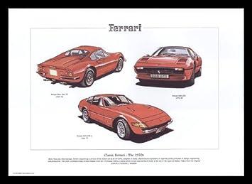 Ferrari Classic Sports Cars 1970s Dino 246 Gt 308 Gtb 365 Gtb 4 Art Print Amazon De Küche Haushalt