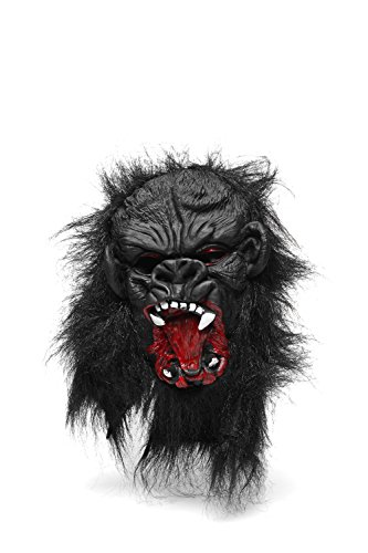 Strong Gorilla Ape Scary Horror Full Face Mask With Hair Halloween Party Unisex (Black, white, blood red)