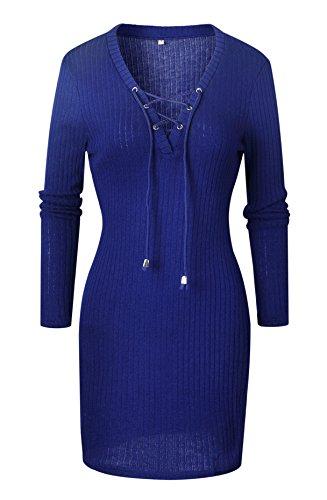 Pull Robe V hero Col Lacets Lonly Femme Tricots Moulante Crois en pcEqP6B