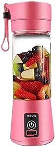 School USB Mini Electric Fruit Juicer Handheld Smoothie Maker Blender Juice Cup 380ML Pink