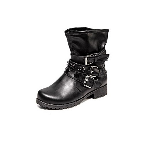 AmoonyFashion Womens Round-Toe Closed-Toe Low-Heels Boots and Buckle Black