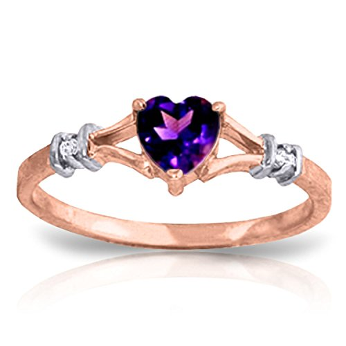 0.47 Carat 14k Solid Rose Gold Ring with Natural Diamonds and Heart-shaped Amethyst - Size 6.5 (Green Amethyst And Diamond Ring)