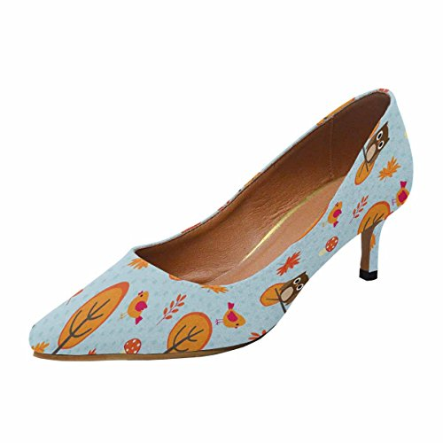 InterestPrint Womens Low Kitten Heel Pointed Toe Dress Pump Shoes Autumn Pattern With Trees and Owls Sitting on Branches Multi 1 pGhg3N88hL