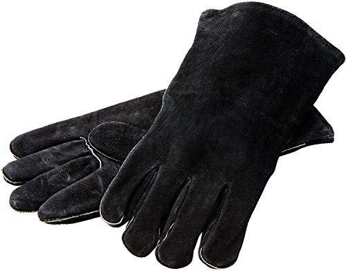 Lodge 14.5 Leather Outdoor Cooking Gloves - Heat Resistant Gloves for Cast Iron Cooking