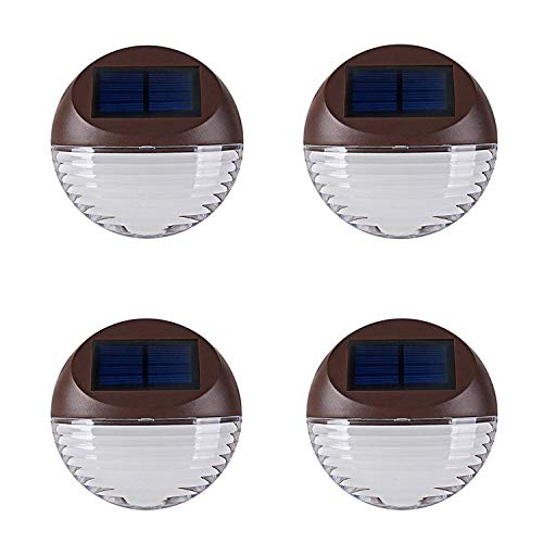 Solar Deck Lighting Wall Lights - 4 Pack Outdoor Wireless Solar Dock Step Road Marker Warm Light for Garden Path Stair Wall Driveway Lighting