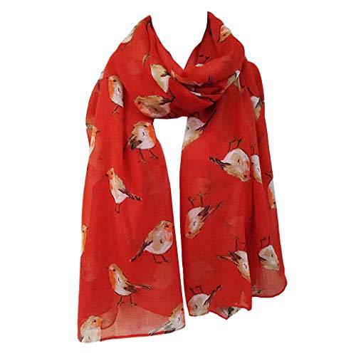 Women's Fashion Long Shawl Scarves Lady Watercolour Robin