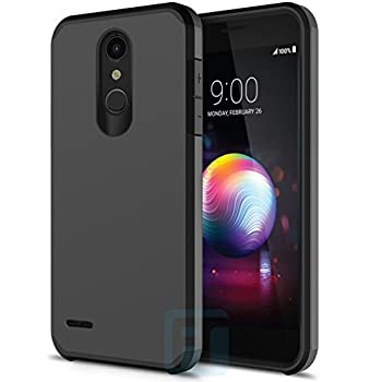 LG K30 Case, LG Harmony 2 Case, LG Phoenix Plus Case, LG Premier Pro Case, LG K10 2018 Case, with Full Cover Tempered Glass Screen Protector, ATUS Hybrid Dual Layer Protective TPU Case (Black/Black)
