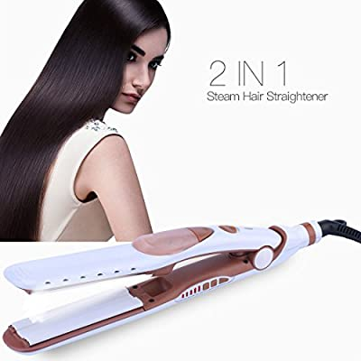 Steam Hair Straightener, 5 level Temperature Adjustable Tourmaline Ceramic Steam Flat Iron-Protect Hair Cuticles from Frizz and Increase Glossiness
