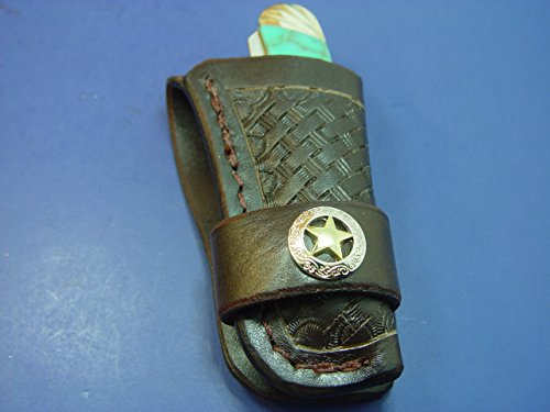 (Custom Western Style Leather Knife Sheath Made to Fit a 4