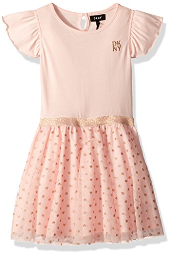 DKNY Little Girls' Casual Dress, Knit Tulle English Rose, 5 - Dkny Kids