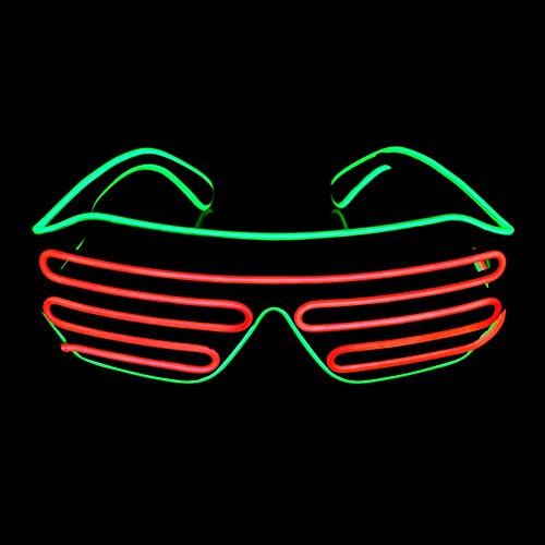 OPPSK Neon Glasses with Glow LED Shutter Shaped Light-Up Toys Glasses for Costume Show Black Lights Party Halloween Christmas (Battery Non-included) - - Glasses Ok Frames