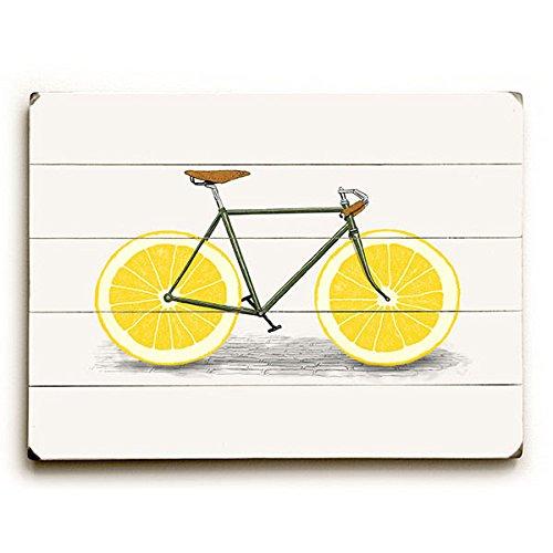 "Lemon Zest Bike by Artist Florent Bodart 12""x16"" Planked Wood Sign Wall Decor Art from ArteHouse"
