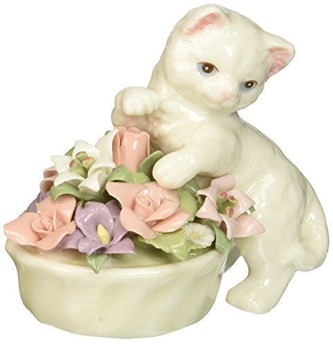 Cosmos 96475 Fine Porcelain Kitten with Flower Pot Figurine, 3-Inch -