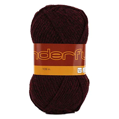 Wonderful 4 Pack (Skeins) Worsted Weight Yarn Wool 50% Acrylic 50% Each Skein 3 oz (85g) 119 Yards (109m) (Wine)