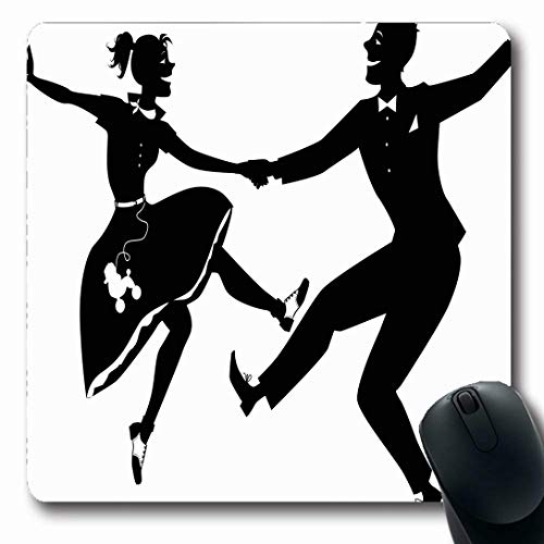 Ahawoso Mousepads for Computers Black Dance Couple Dressed Music Poodle Swing Jive Rock Design Vintage Oblong Shape 7.9 x 9.5 Inches Non-Slip Oblong Gaming Mouse Pad