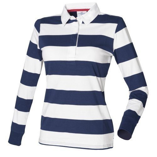 Front Row Womens/Ladies Striped Rugby Polo Shirt (XL) (Navy/White) (Rugby Womens Navy)