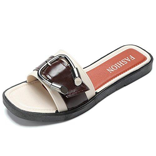 marea nueva arrastre Blanco zapatos salvajes cuadrada verano zapatillas de cabeza de ocio parte sandalias de suave LIVY 2017 inferior fresco palabra UwSST