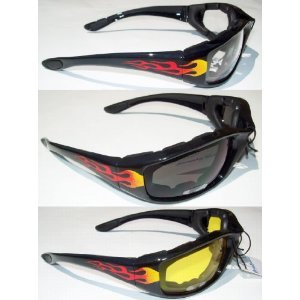 - 3 Motorcycle Flame Sunglasses Glasses Padded Black frames with Fire on sides, lenses that are shatter resistant polycarbonate, rated UV400 Anti-Fog coated each lens Clear Smoked Yellow Each comes with a soft micro-fiber bag to store them in Also has comfortable rubber ear pads!These float if you are near or around water a lot.If you drop them in water they will float on the surface