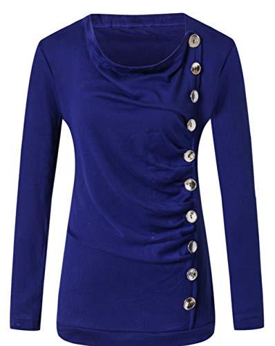 Bouton Blouse Femmes Hauts Bleu Printemps Jumpers Tops Shirts T et Casual Monika Longues Automne Personnalit Tees Slim Manches qPtwO