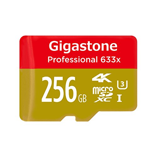 Gigastone 256GB Micro SD Card MicroSD U3 UHS-I C10, UHD 4K Video Recording, 4K Gaming, Read/Write 95/50 MB/s, with MicroSD to SD Adapter, Nintendo Dashcam Gopro Canon Nikon Camera Samsung Drone