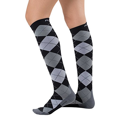 Argyle Compression Socks - Graduated Travel Compression Sock Men Women - Use Running, Nurses, Maternity, Flight