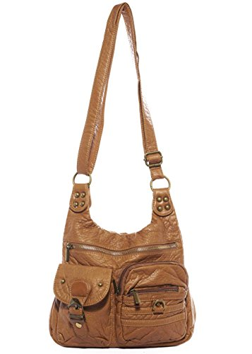 The Aria Crossbody Handbag Hobo Tote Soft Vegan Leather by Ampere Creations (Light Brown)