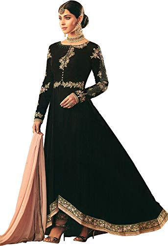 Exotic India Rum-Raisin Designer A-line Salwar Kameez Suit with Zari-Emb - Brown Size - Rum India