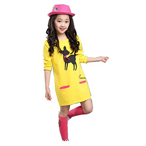 FTSUCQ Girls Long Sleeve Cartoon Printed Long Shirt Dress,Yellow - Check One For Balance All Voucher