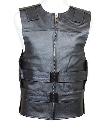 Metallic Black Leather - Bulletproof Style Motorcycle Vest (3XL)
