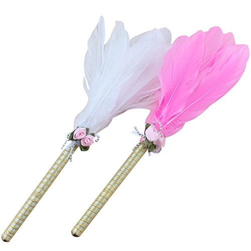 Ipienlee Signing Pen Feather Duster Style Marker Pen for Wedding or Party Decorations Pack of 2