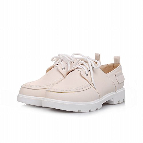 Carol Schoenen Sweet Womens Lace-up Cute Stitching Fashion Comfort Low Chunky Heel Oxfords Shoes Beige