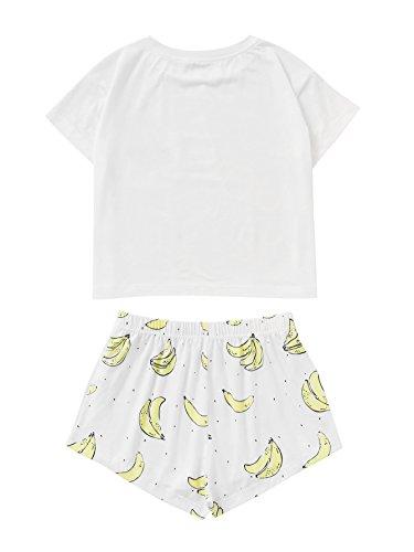 DIDK Women's Cute Cartoon Print Tee and Shorts Pajama Set White Banana L