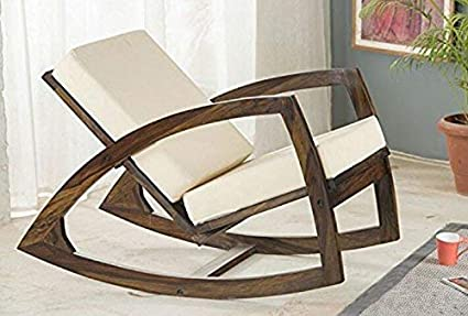 Outstanding Cherry Wood Sheesham Wood Rocking Chair With Cushion For Living Room White Gmtry Best Dining Table And Chair Ideas Images Gmtryco