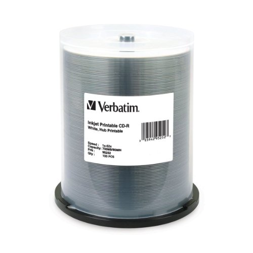 Verbatim 700 MB 52x 80 Minute White Inkjet and Hub Printable Recordable Disc CD-R, 100-Disc Spindle 95252