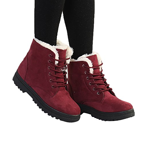 Mostrin Winter Women's Lace Up Snow Boots Waterproof Warm Fur Lined Suede Flat Short ()