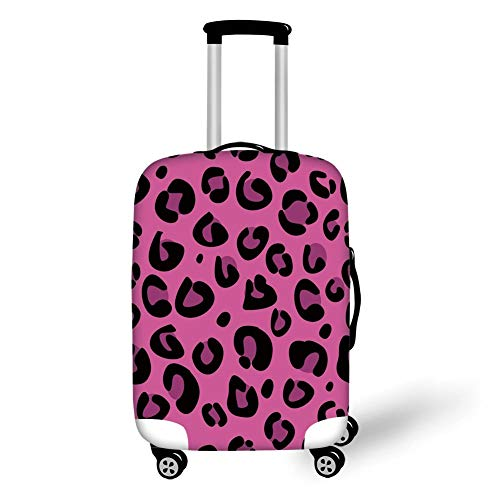 Travel Luggage Cover Suitcase Protector,Hot Pink,Leopard Animal Skin Pattern in Abstract Style Wild Safari Jungle Theme Decorative,Pink Fuchsia Black£¬for Travel (Pink Suitcase Hot)