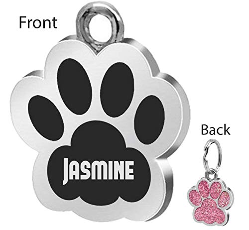 Custom Engraved Personalized Stainless Steel Jasmine Dog Pet ID Jewelry Pets Tag Pet ID Tags Designers Round Paws Custom Dog Tags for Pets Engraved Custom Identification Tag ()